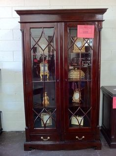Crystal Display Cabinet Half Round Leadlight  RRP 1899