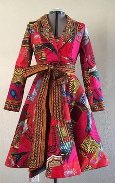 African Print Patchwork Red Coat Dress With Pockets Fully Lined Cotton This is a stylish. African Fashion Designers, African Inspired Fashion, African Print Fashion, Africa Fashion, Fashion Prints, African Print Dresses, African Fashion Dresses, African Dress, Ankara Fashion
