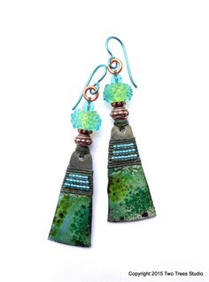 Forest Fey:  Fresh and beautiful lightweight artisan earrings by Two Trees Studio.