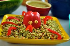 taboulli with a red pepper octopus - great for a kids' party