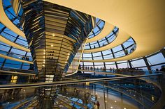 This is the inside of the Reichstag Dome in Berlin. It allows visitors to see into the German parliament chamber below.