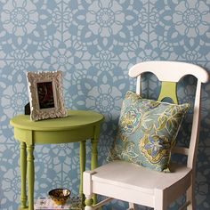 Add a sweet feature wall to your nursery decor or paint the top of your table with Chalk Paint and this romantic Grand Floral LaceTile Stencil. Details Stencil