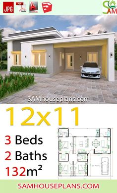 House Plans with 3 Bedrooms Slap roof - Sam House Plans Wooden House Plans, Dream House Plans, Small House Plans, Family House Plans, Bungalow Floor Plans, Modern Bungalow House, Modern Small House Design, Simple House Design, House Layout Plans