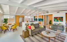 white beams, white floor - mid-century filled with light