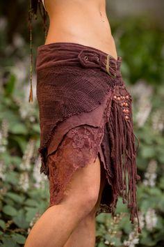 Selva de falda con bolsillos marrón gitano Goa Festival