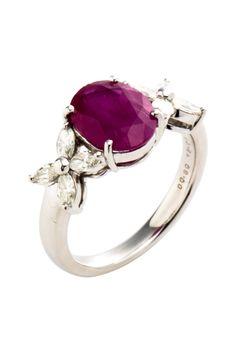 Platinum Ruby & Diamond Flower Estate Ring <3
