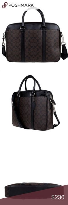 """Coach Mens Signature Perry Slim Briefcase 100% Authentic Coach!  Buy with confidence!  • MSRP: $495.00 • Style: F54803  Features: • Signature coated canvas with leather trim • Inside zip and multifunction pockets • Inside laptop sleeve • Zip closure, fabric lining • Handles with 4 3/4"""" drop • Outside zip and snap pockets • Detachable strap with 53 1/4"""" drop for shoulder or crossbody wear • 15 1/2"""" (L) x 11 1/4"""" (H) x 2 3/4"""" (W)  Please feel free to ask any questions. Happy shopping! Coach…"""