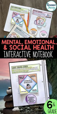 Mental Health Unit Social Health Interactive Notebook This is an Interactive Health Lesson for grade and middle school student. Topics covered in this unit include: Types of Stress, What Creates Stress, Anticipatory Stress, Major Life Changes, Body's S Health Teacher, Health Class, Health Education, Mental Health, Physical Education, Middle School Health, Education Middle School, High School Health Lessons, Psych