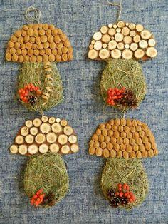 hríby so sena a rôzneho prírodného materiaálu Autumn Activities For Kids, Fall Crafts For Kids, Toddler Crafts, Diy For Kids, Autumn Crafts, Nature Crafts, Easy Crafts, Diy And Crafts, Arts And Crafts