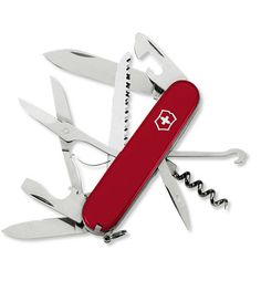 """A great pocketknife and multitool by the makers of the original Swiss Army knife. Tools include: 1 1/2""""- and 2 3/8""""-blade knives, wood saw, small and large flat-blade screwdrivers, wire stripper, reamer/punch, scissors, multipurpose hook, cap lifter, corkscrew, can opener, tweezers and toothpick. A key ring keeps the Huntsman handy all the time. Stainless-steel blades and hard plastic handle."""