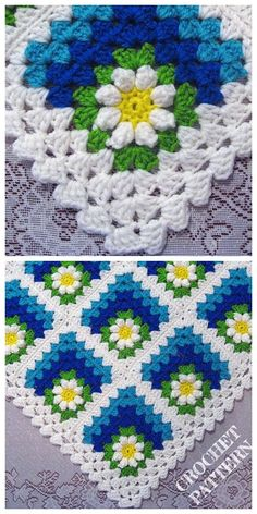 Crochet Mitered Daisy Flower Blanket Crochet Pattern + Video Source by DIYDailyMag Granny Square Crochet Pattern, Crochet Flower Patterns, Afghan Crochet Patterns, Crochet Squares, Crochet Stitches, Knitting Patterns, Pattern Flower, Crochet Daisy, Free Crochet