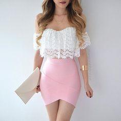 fashion, pink, and outfit image Mode, Rosa und Ausstattungsbild Mode Outfits, Skirt Outfits, Dress Skirt, Dress Up, Bodycon Skirt Outfit, Ladies Outfits, Shirt Skirt, Pink Dress, Denim Skirt