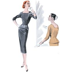 """Butterick 5557 MISSES' TOP AND SKIRT: Fitted, lined tops A, B have neckband, below elbow kimono sleeves and back zipper. A: sleeve and lower bands, self-fabric bow. Semi-fitted, straight, lined skirts A, B, mid-calf, have waistband and side zipper.  NOTIONS: Top and Skirt A, B: 14"""" Zipper, 7"""" Zipper, One Hook and Eye Closure.  FABRICS: Top and Skirt A, B: Crepe, Faille, Dupioni and Taffeta."""