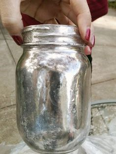 Finally found it! Create the Tarnished Silver/Mercury Glass Look With Spray Paint, Water and Vinegar! Super pretty and oh the possibilities...