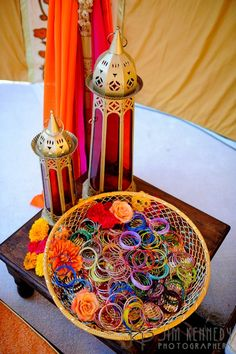 Inspirations for Indian Wedding Decor - Perfect for a Ladies Sangeet or Mehndi Night Diy Mehndi Decorations, Indian Wedding Decorations, Indian Weddings, Indian Wedding Favors, Stage Decorations, Mehendi Decor Ideas, Peach Weddings, Engagement Decorations, Centerpiece Decorations