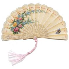 Cream Victorian Butterfly Fan Card ~ England