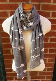 Arrows Scarf-Hand Screen Printed-Soft Heather Rayon Burnout-Ash Grey-Gift for Her