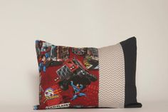 Kids Decor, Superman Pillow Cover, Lumbar, Grey Chevron, Black, Red, 12x16, Superheroes