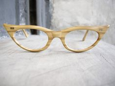 Vintage Eyeglass Catseye 1960's Wood Grain by hisandhervintage