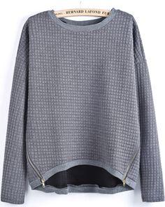 Grey Long Sleeve Plaid Pattern Zipper Blouse - Sheinside.com