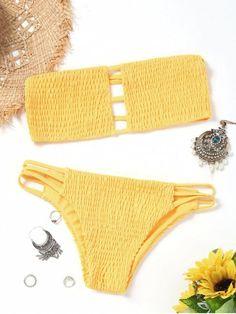 Up to 80% OFF! Bandeau Smocked Bikini Bra With Bottoms. #Zaful #swimwear Zaful, zaful bikinis, zaful dress, zaful swimwear, style, outfits,sweater, hoodies, women fashion, summer outfits, swimwear, bikinis, micro bikini, high waisted bikini, halter bikini, crochet bikini, one piece swimwear, tankini, bikini set, cover ups, bathing suit, swimsuits, summer fashion, summer outfits, Christmas, ugly Christmas, Thanksgiving, Gift, New Year Eve, New Year 2017. @zaful Extra 10% OFF Code:ZF2017
