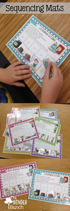 Comprehension: Sequencing Mats for practicing sequencing skills. Sequencing Activities, Speech Therapy Activities, Language Activities, Reading Activities, Teaching Reading, Classroom Activities, Teaching Tools, Teaching Resources, Story Sequencing