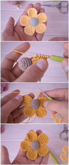 How to Crochet 5 Petal Flower Very Easy Tutorial : today we are going to learn how to knit this cute little flower that is woven into base to a semici. Crochet Flower Tutorial, Crochet Flower Patterns, Crochet Motif, Crochet Designs, Crochet Stitches, Knitting Patterns, Crochet Leaves, Crocheted Flowers, Cute Crochet