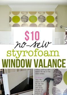 Make a custom window valance for $10 using sheets of foam insulation you buy at the home improvement store. Step-by-step photo tutorial.