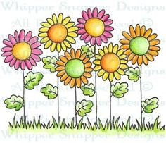 Field of Daisies - Whimsical - Floral/Garden - Rubber Stamps - Shop