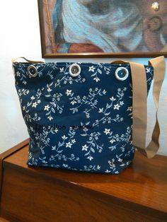 borsa blu a tracolla con cerniera
