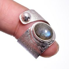 Labradorite Gemstone Handmade Ring 925 Sterling Silver Jewelry Size Adjustable #Handmade