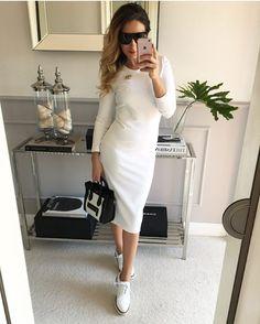 """569 aprecieri, 39 comentarii - Mint Label (@mint_label_) pe Instagram: """"#ołówkowa sukienka Mint Label #dostępna w kolorze ecru, szarym, granatowym i fuksji #dress #white…"""""""