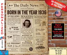85th Birthday NEWSPAPER Poster for 1936 Birthday Facts for 85th Adult Birthday | AUTHENTIC Look Printable Poster | PERSONALIZED Born in 1936 Happy 75th Birthday, 85th Birthday, Birthday Gifts For Her, Birthday Signs, Birthday Posters, 60th Birthday Party Decorations, Radio City Music Hall, My Childhood Memories, Newspaper