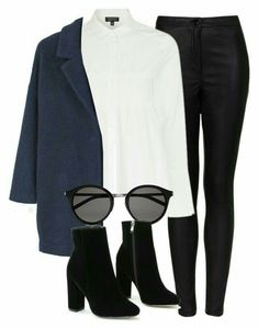 A fashion look from February 2017 featuring long sleeve tops, wool coat and faux leather pants. Browse and shop related looks. Business Casual Outfits, Office Outfits, Classy Outfits, Trendy Outfits, Winter Outfits, Chic Outfits, Fashion Outfits, Mein Style, Mode Outfits