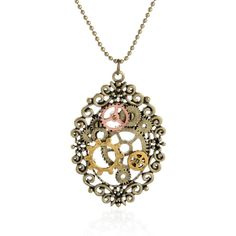 Steampunk Gears Anchors Crystal Stone Pendant Cog Gears Choker Necklace