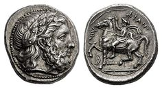 KINGS of MACEDON. Philip II. 359-336 BC. Tetradrachm (Silver, 14.47 g 6), Amphipolis, 355-349/8. Laureate head of Zeus to right. Rev. ΦΙΛΙΠΠΟΥ Philip II, wearing kausia and chlamys, raising his right hand in salute and riding horse walking to left; below horse's foreleg, bow; below horse, club to left. Le Rider 19a (this coin). SNG ANS Berry 114. SNG Lockett 1411 (this coin).
