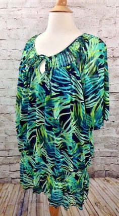 CROFT & BARROW Blue Green Print Keyhole Blouse Plus Size 3X Nylon Semi Sheer Top #CroftBarrow #Blouse #Casual