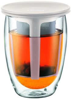Bodum Tea For One 12-Ounce Double-Wall Glass with Tea Strainer, Off-White