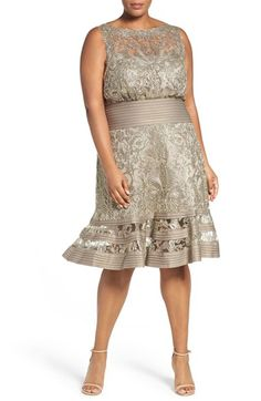 Free shipping and returns on Tadashi Shoji Embroidered Tulle & Pintuck Blouson Dress (Plus SIze) at Nordstrom.com. Elaborately embroidered tulle shapes an enchanting party frock highlighted with pintuck jersey around the waist and hem and cast in a shimmering smoky hue. The kicky, flared skirt enhances the delightfully feminine silhouette.