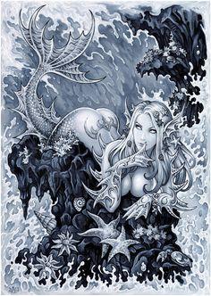 Mermaid by Candra on DeviantArt Mermaid Artwork, Mermaid Drawings, Mermaid Tattoos, Art Drawings, Mermaid Paintings, Fantasy Mermaids, Mermaids And Mermen, Mermaids Exist, Fantasy Creatures