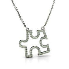 Petite Pave Puzzle Piece Pendant #customizable #jewelry #greenamethyst #silver #necklace