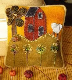 Wool pincushion designed by Elizabeth Angus of Sunflower Fields Pattern Co.
