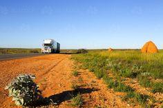 A semi trailer and a termite mound