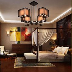 Morden Contracted Creative Wrought Iron+Cloth Art Chandelier 4 Lights with Height Adjustable – GBP £ 158.02