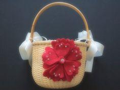 Flower Girl Basket Red Wedding 70 flower colors available by ArtisanFeltStudio on Etsy, $26.00