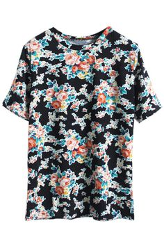 Black Floral T-shirt. Description Black T-shirt, featuring round neck, short sleeves styling, floral print, regular fit. Fabric 60%Cotton;40%Polyester. Washing Cool hand wash with similar colours, cool iron, dry flat, do not tumble dry, do not bleach. #Romwe