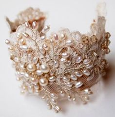 pearl and lace cuff bracelet