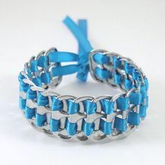 pulsera ficha de soda armadura azul apilada 7 pulgadas