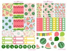 Summer Watermelon Weekly Planner Stickers   Erin Condren, Kikki K, InkWell, Plum Planner, Scrapbook by PeonyPlanner on Etsy