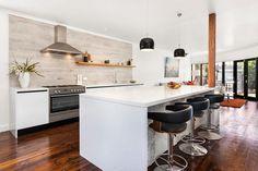 Kitchen splashback and floors